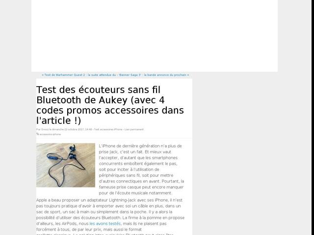 Test des écouteurs sans fil Bluetooth de Aukey (avec 4 codes promos accessoires dans l'article !)