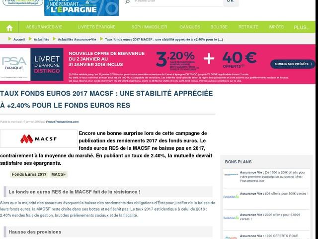 Taux fonds euros 2017 MACSF : une stabilité appréciée à +2.40% pour le fonds euros RES