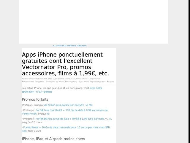 Apps iPhone ponctuellement gratuites dont l'excellent Vectornator Pro, promos accessoires, films à 1,99€, etc.