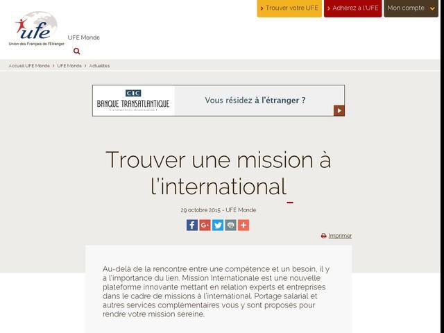 Trouver une mission à l'international