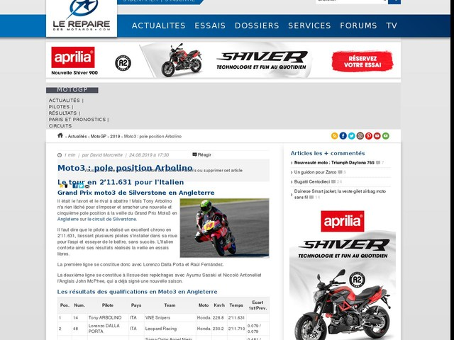 Moto3 : pole position Arbolino