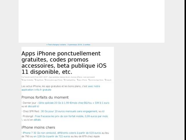 Apps iPhone ponctuellement gratuites, codes promos accessoires, beta publique iOS 11 disponible, etc.