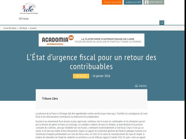L'État d'urgence fiscal pour un retour des contribuables