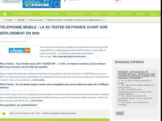 Téléphonie mobile : la 5G testée en France avant son déploiement en 2020