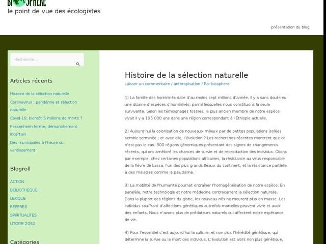 Histoire de la sélection naturelle