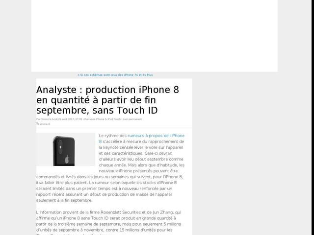 Analyste : production iPhone 8 en quantité à partir de fin septembre, sans Touch ID