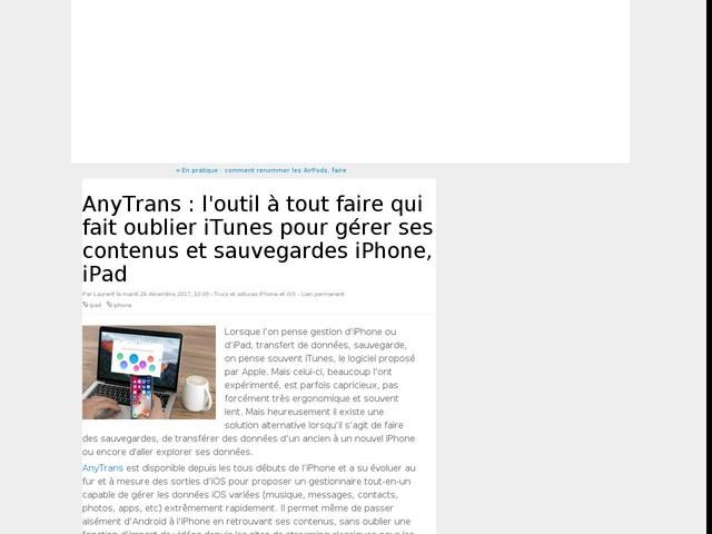 AnyTrans : l'outil à tout faire qui fait oublier iTunes pour gérer ses contenus et sauvegardes iPhone, iPad