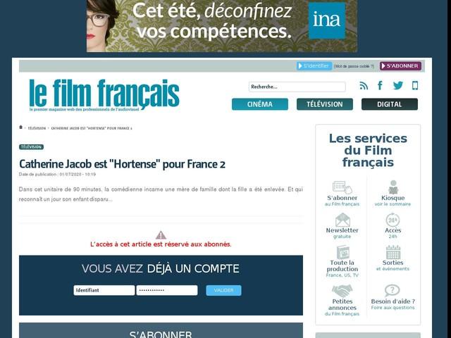 """Catherine Jacob est """"Hortense"""" pour France 2"""