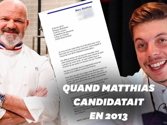 """""""Top Chef"""": la lettre de Matthias Marc à Philippe Etchebest 8 ans avant l'émission"""