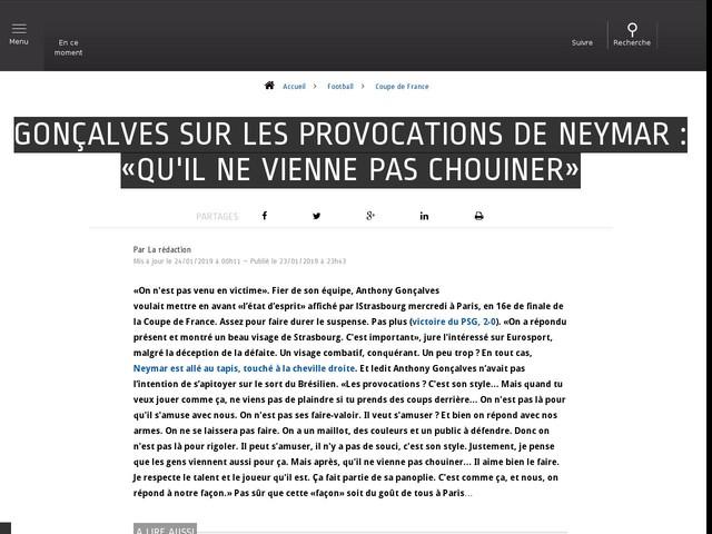 Football - Coupe de France - Gonçalves sur les provocations de Neymar : «Qu'il ne vienne pas chouiner»