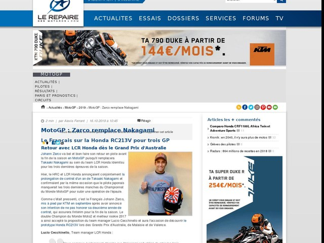 MotoGP : Zarco remplace Nakagami