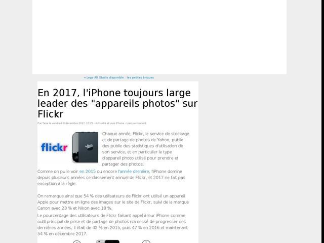 """En 2017, l'iPhone toujours large leader des """"appareils photos"""" sur Flickr"""