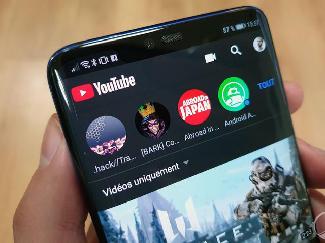 YouTube sur Android 10 adopte finalement le thème global du système