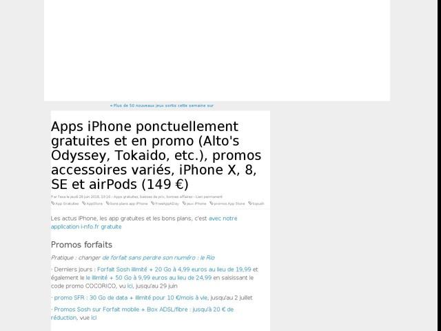 Apps iPhone ponctuellement gratuites et en promo (Alto's Odyssey, Tokaido, etc.), promos accessoires variés, iPhone X, 8, SE et airPods (149 €)