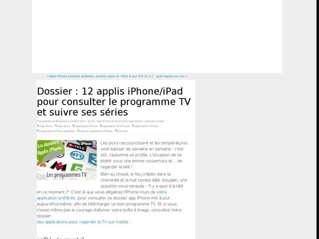 Dossier : 12 applis iPhone/iPad pour consulter le programme TV et suivre ses séries