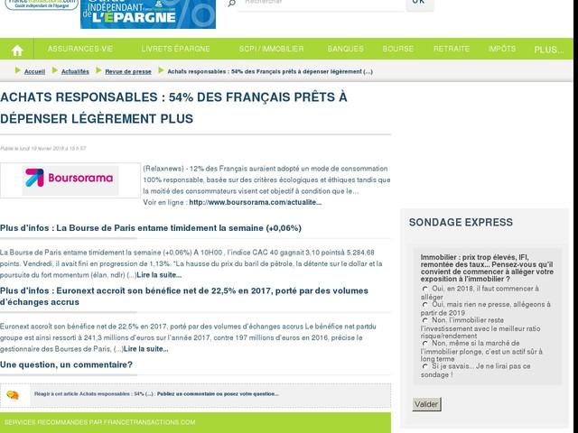 Achats responsables : 54% des Français prêts à dépenser légèrement plus