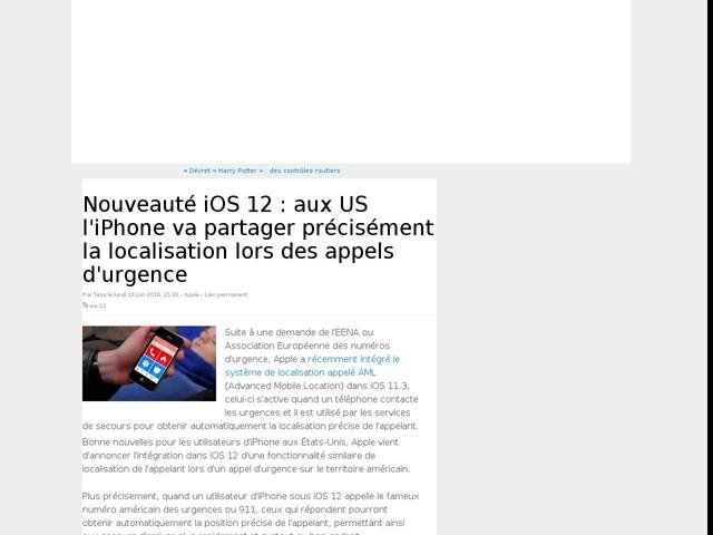 Nouveauté iOS 12 : aux US l'iPhone va partager précisément la localisation lors des appels d'urgence