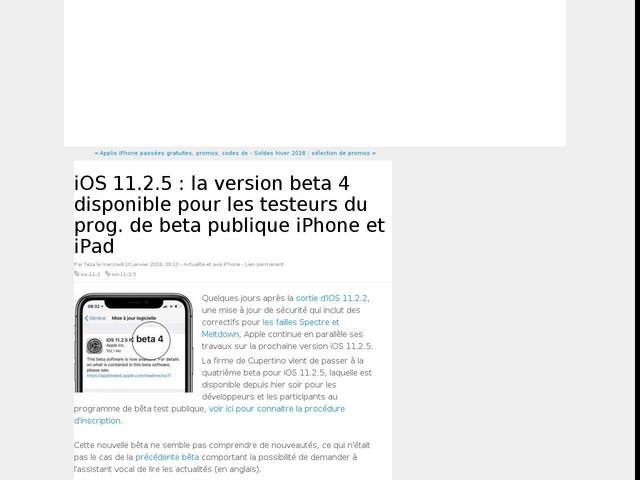iOS 11.2.5 : la version beta 4 disponible pour les testeurs du prog. de beta publique iPhone et iPad