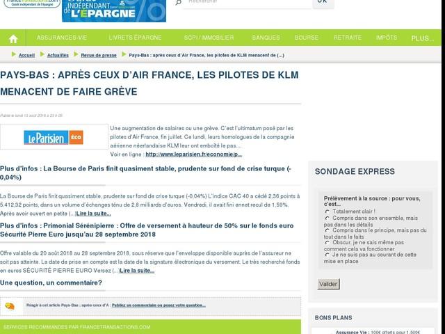 Pays-Bas : après ceux d'Air France, les pilotes de KLM menacent de faire grève