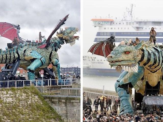 [Zone 42] Découvrez l'impressionnant Dragon de Calais, un dragon mécanique de 25 mètres de long crachant du feu !