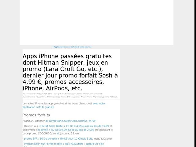 Apps iPhone passées gratuites dont Hitman Snipper, jeux en promo (Lara Croft Go, etc.), dernier jour promo forfait Sosh à 4,99 €, promos accessoires, iPhone, AirPods, etc.