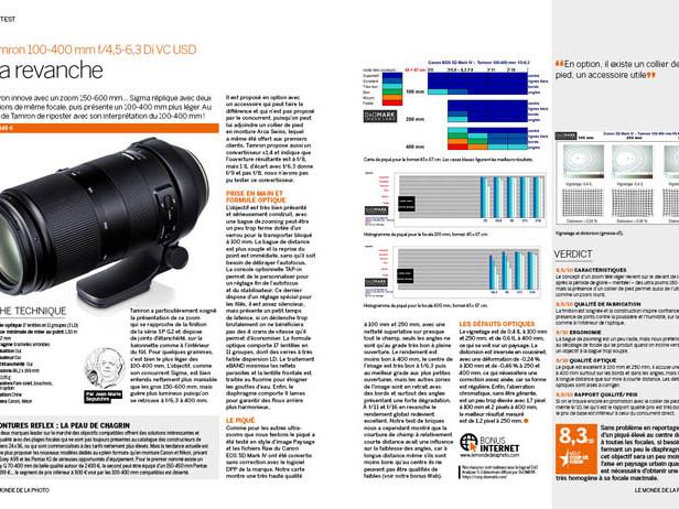 TEST : Tamron 100-400 mm f/4,5-6,3 Di VC USD [BONUS MDLP N°108]