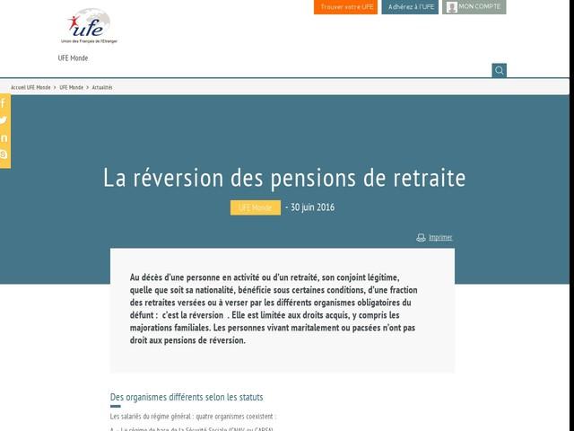 La réversion des pensions de retraite