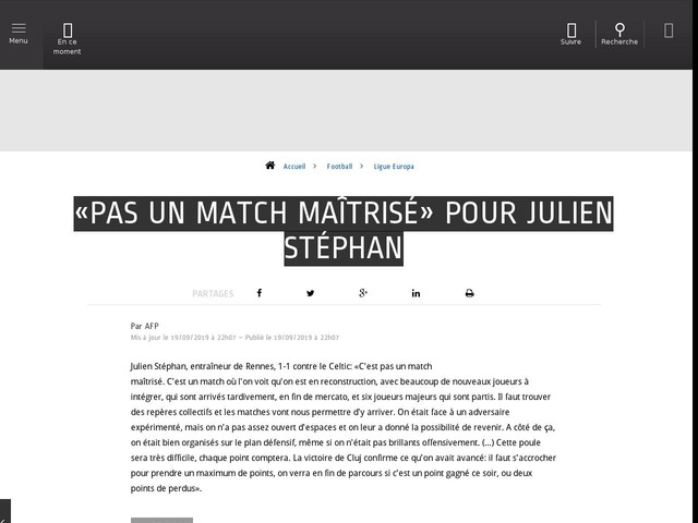 Football - Ligue Europa - «Pas un match maîtrisé» pour Julien Stéphan