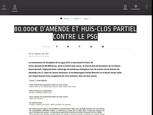 Football - Ligue 1 - 80.000€ d'amende et huis-clos partiel contre le PSG