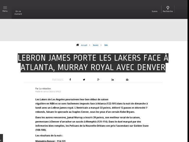 Basket - NBA - LeBron James porte les Lakers face à Atlanta, Murray royal avec Denver