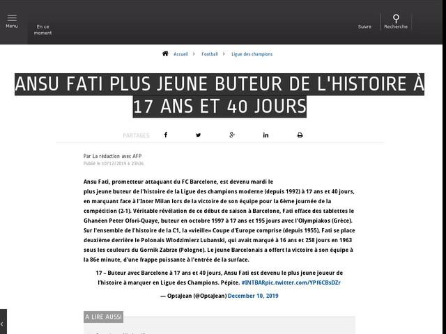 Football - Ligue des champions - Ansu Fati plus jeune buteur de l'histoire à 17 ans et 40 jours