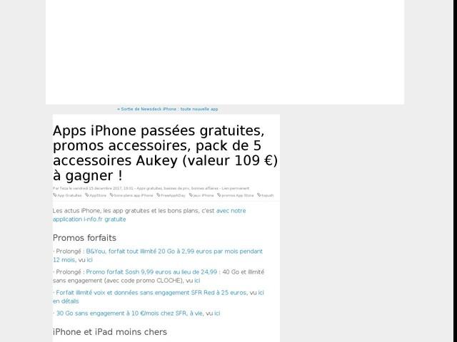 Apps iPhone passées gratuites, promos accessoires, pack de 5 accessoires Aukey (valeur 109 €) à gagner !