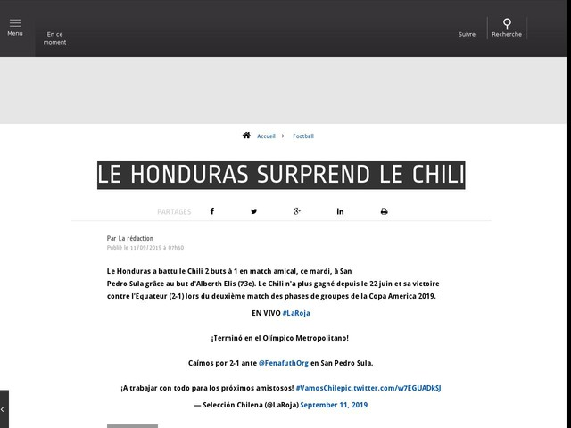 Football - Le Honduras surprend le Chili