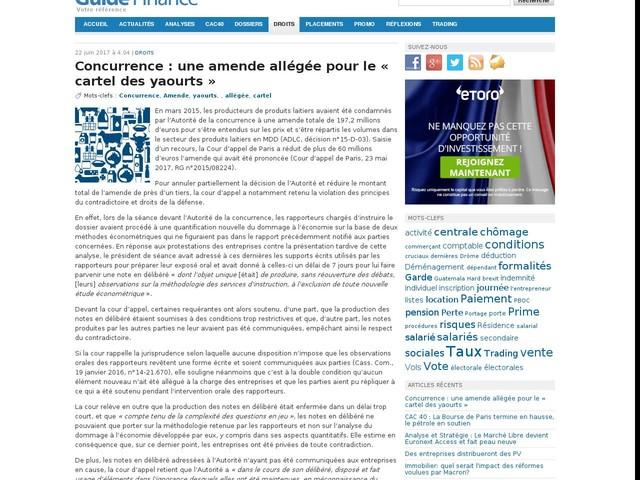 Concurrence : une amende allégée pour le « cartel des yaourts »