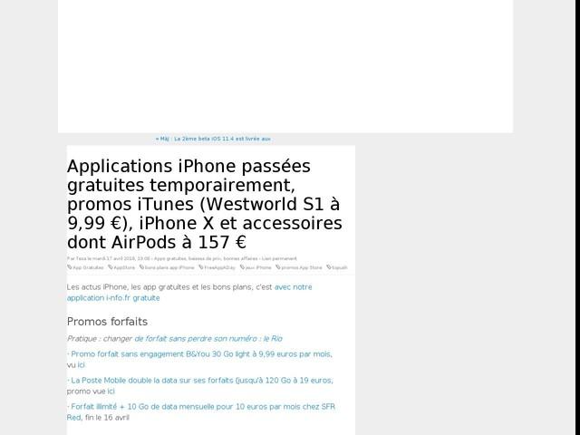 Applications iPhone passées gratuites temporairement, promos iTunes (Westworld S1 à 9,99 €), iPhone X et accessoires dont AirPods à 157 €