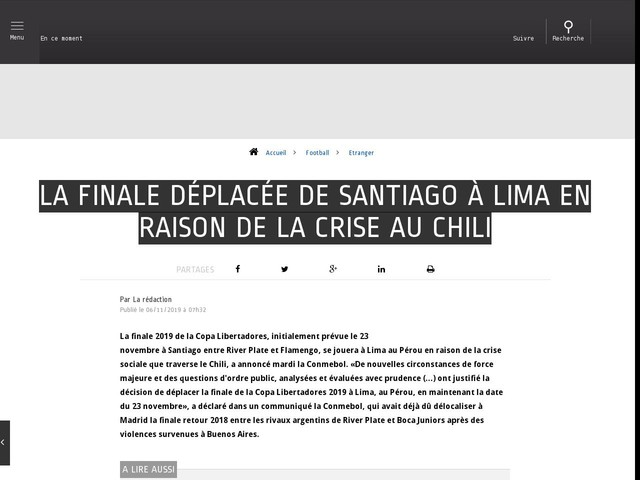 Football - Etranger - La finale déplacée de Santiago à Lima en raison de la crise au Chili