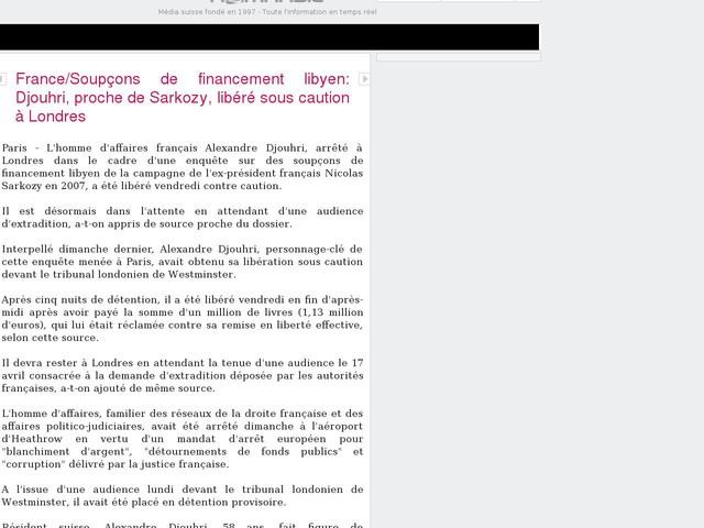 France/Soupçons de financement libyen: Djouhri, proche de Sarkozy, libéré sous caution à Londres