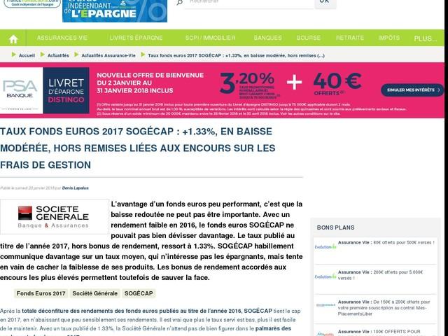 Taux fonds euros 2017 SOGÉCAP : +1.33%, en baisse modérée, hors remises liées aux encours sur les frais de gestion