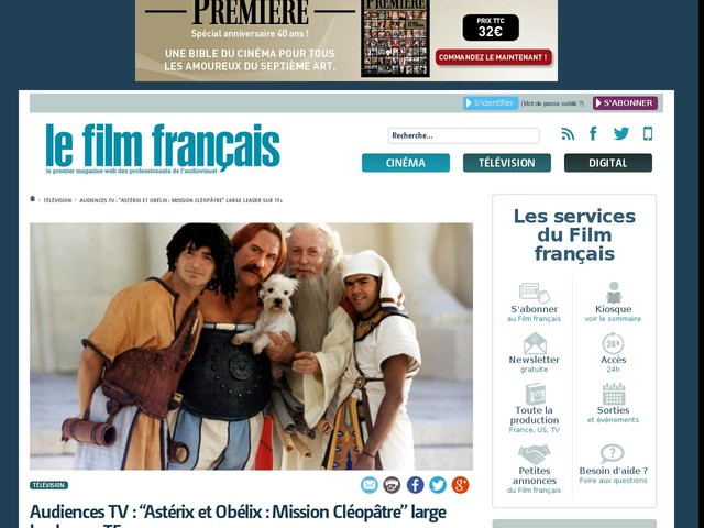 """Audiences TV : """"Astérix et Obélix : Mission Cléopâtre"""" large leader sur TF1"""