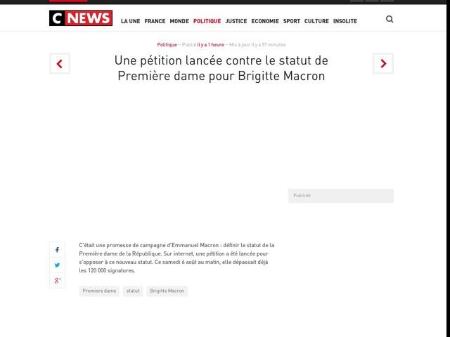 Une pétition lancée contre le statut de Première dame pour Brigitte Macron