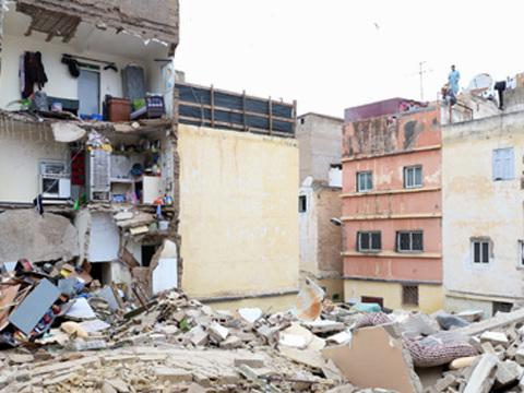 Casablanca : effondrement d'une maison menaçant ruine et inoccupée à l'ancienne médina