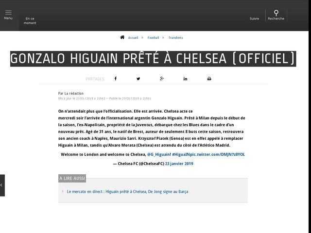 Football - Transferts - Gonzalo Higuain prêté à Chelsea (officiel)