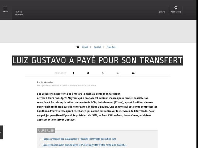 Football - Transferts - Luiz Gustavo a payé pour son transfert
