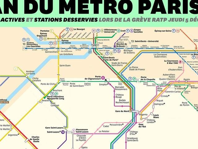 Grève RATP du 5 décembre: voici à quoi ressemblera le plan du métro de Paris