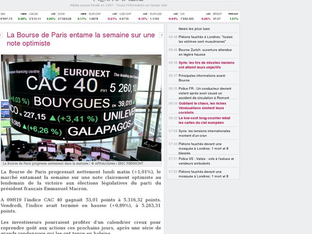 La Bourse de Paris entame la semaine sur une note optimiste