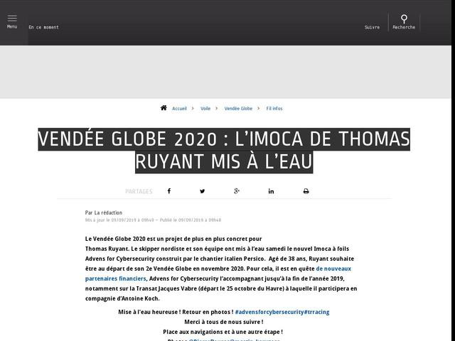 Voile - Vendée Globe - Vendée Globe 2020 : L'Imoca de Thomas Ruyant mis à l'eau