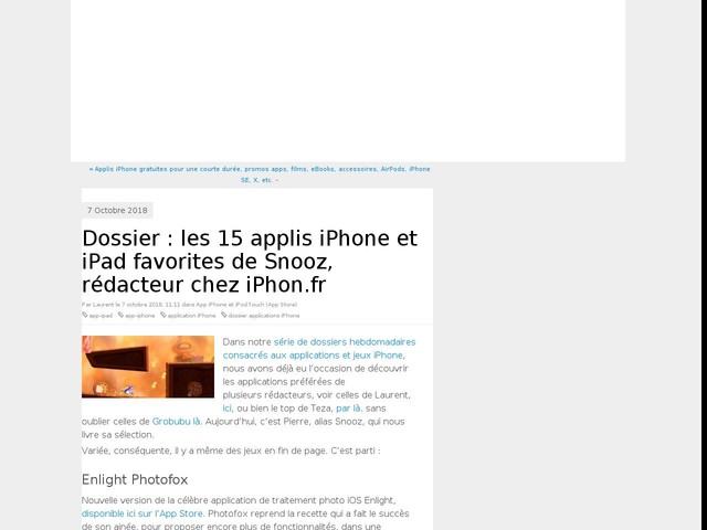 Dossier : les 15 applis iPhone et iPad favorites de Snooz, rédacteur chez iPhon.fr