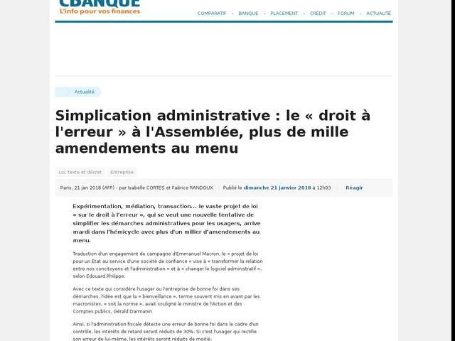Simplication administrative : le « droit à l'erreur » à l'Assemblée, plus de mille amendements au menu