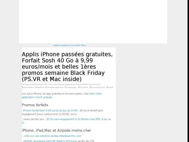 Applis iPhone passées gratuites, Forfait Sosh 40 Go à 9,99 euros/mois et belles 1ères promos semaine Black Friday (PS.VR inside)