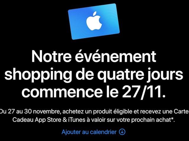 Black Friday 2020 : Apple proposera des cartes cadeaux jusqu'à 150€